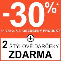 Zľava 30% na 2. a 3. produkt + darček